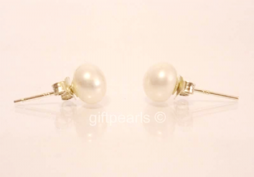 5-6mm white pearl studs on solid 925 Sterling silver posts